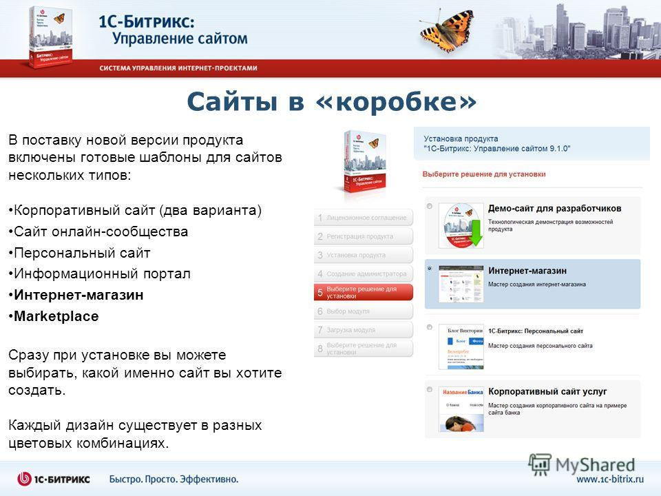 Сайты в «коробке» В поставку новой версии продукта включены готовые шаблоны для сайтов нескольких типов: Корпоративный сайт (два варианта) Сайт онлайн-сообщества Персональный сайт Информационный портал Интернет-магазин Marketplace Сразу при установке