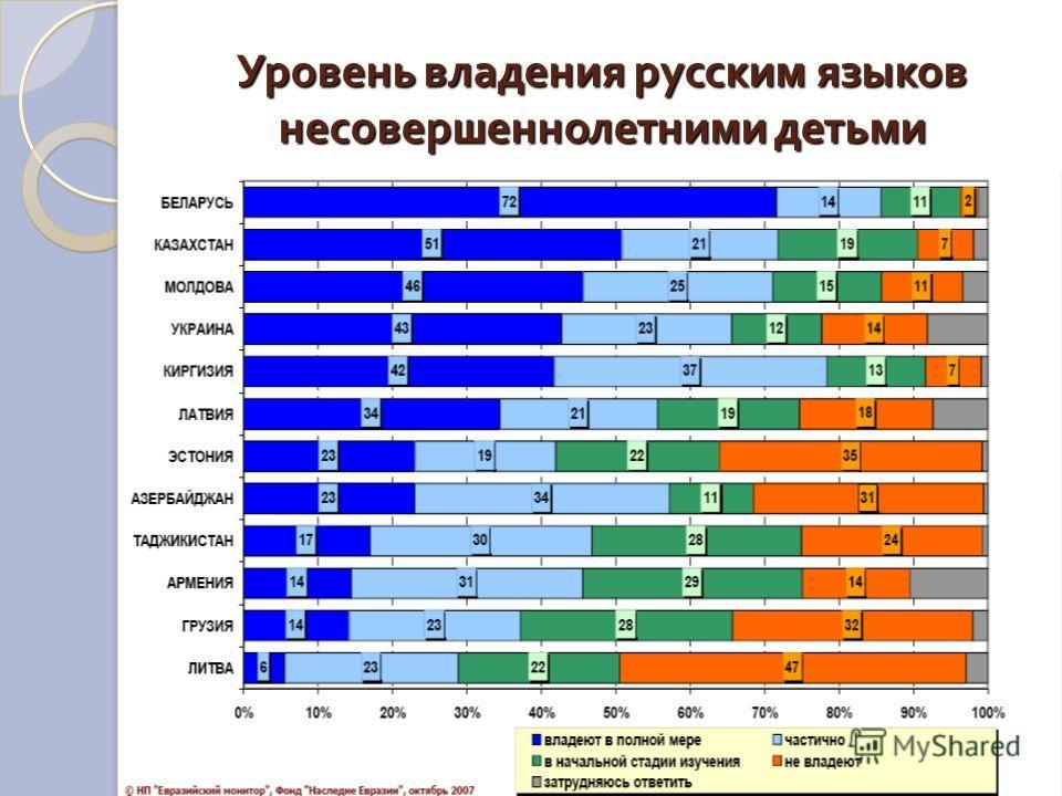 Уровень владения русским языков несовершеннолетними детьми