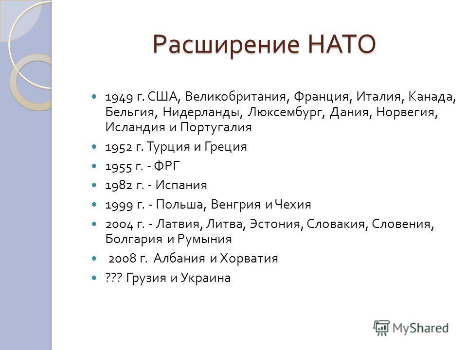 Расширение НАТО 1949 г. США, Великобритания, Франция, Италия, Канада, Бельгия, Нидерланды, Люксембург, Дания, Норвегия, Исландия и Португалия 1952 г. Турция и Греция 1955 г. - ФРГ 1982 г. - Испания 1999 г. - Польша, Венгрия и Чехия 2004 г. - Латвия,