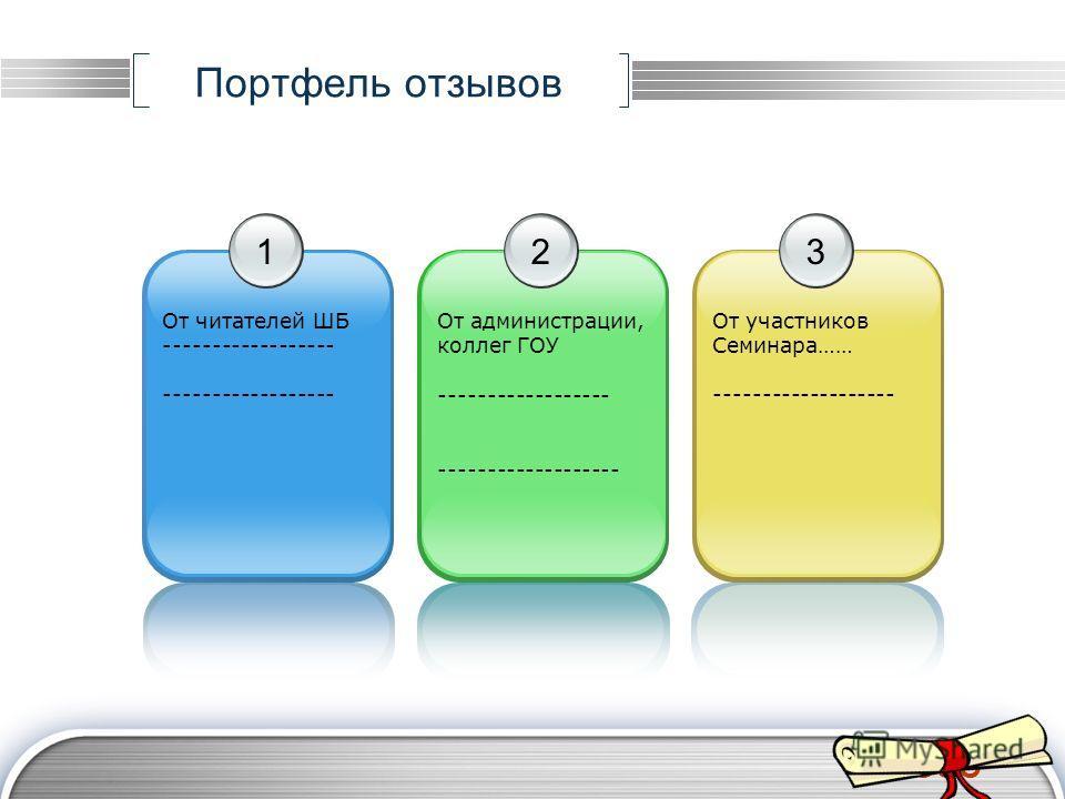 LOGO Портфель отзывов 1 От читателей ШБ ------------------ 2 От администрации, коллег ГОУ ------------------ ------------------- 3 От участников Семинара…… -------------------