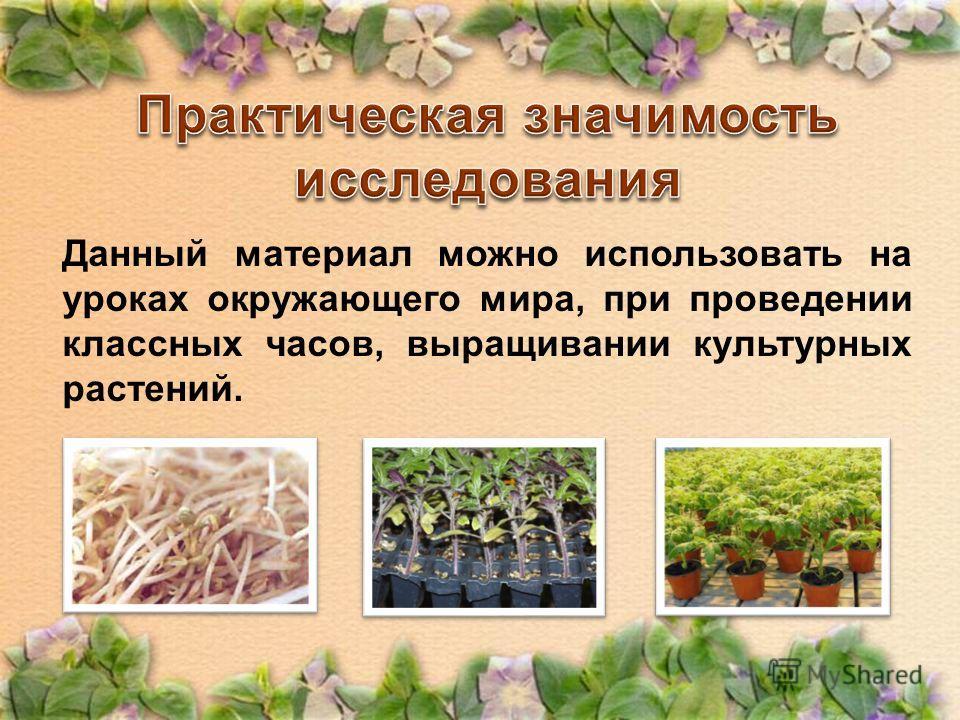 Данный материал можно использовать на уроках окружающего мира, при проведении классных часов, выращивании культурных растений.