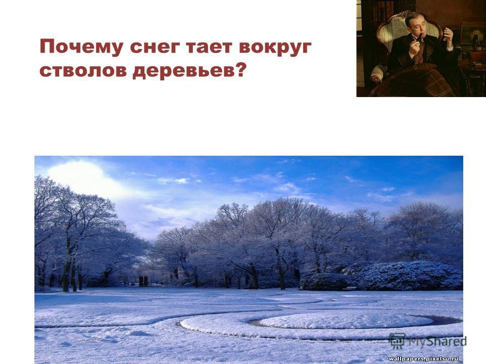 Почему снег тает вокруг стволов деревьев? Днем стволы деревьев нагреваются и некоторое количество теплоты передается вниз. Почва нагревается.