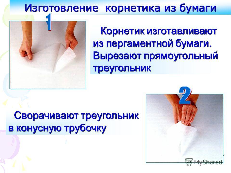Изготовление корнетика из бумаги Корнетик изготавливают из пергаментной бумаги. Вырезают прямоугольный треугольник Сворачивают треугольник в конусную трубочку