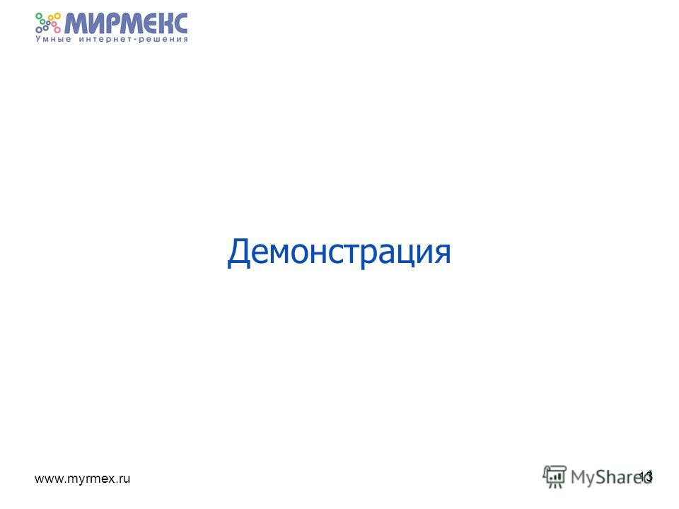 www.myrmex.ru 13 Демонстрация