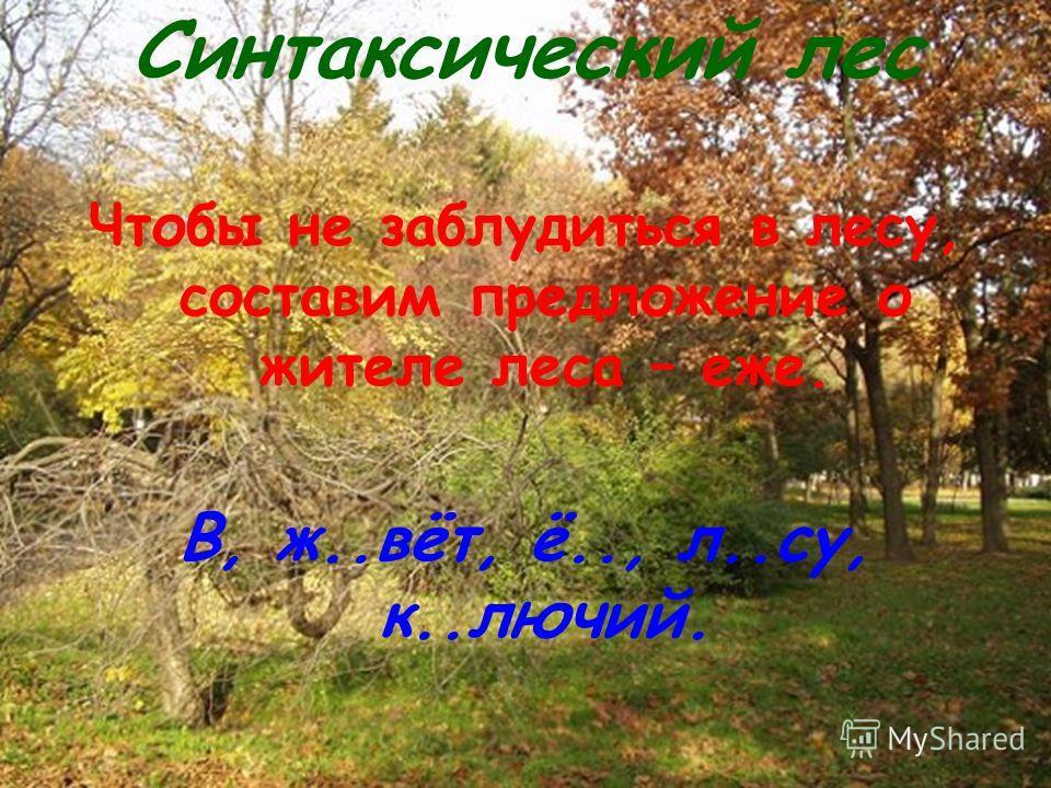 Синтаксический лес Чтобы не заблудиться в лесу, составим предложение о жителе леса – еже. В, ж..вёт, ё.., л..су, к..лючий.