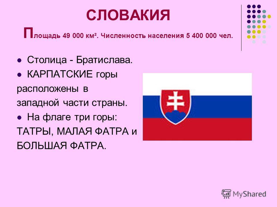 СЛОВАКИЯ П лощадь 49 000 км². Численность населения 5 400 000 чел. Столица - Братислава. КАРПАТСКИЕ горы расположены в западной части страны. На флаге три горы: ТАТРЫ, МАЛАЯ ФАТРА и БОЛЬШАЯ ФАТРА.