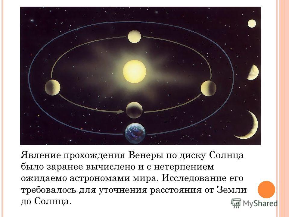 Явление прохождения Венеры по диску Солнца было заранее вычислено и с нетерпением ожидаемо астрономами мира. Исследование его требовалось для уточнения расстояния от Земли до Солнца.