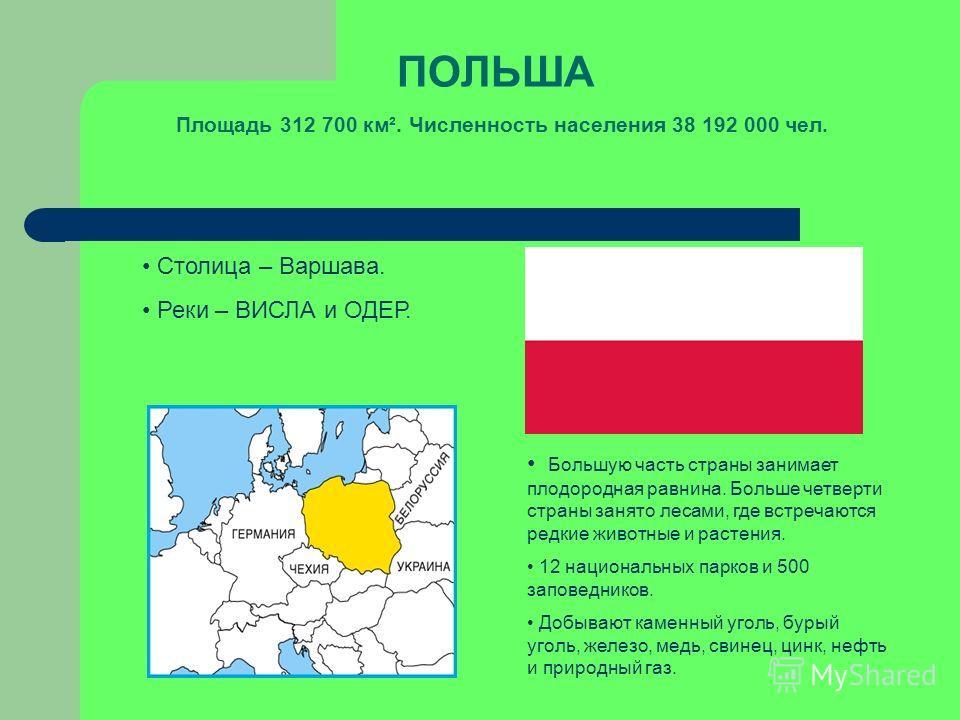 ПОЛЬША Площадь 312 700 км². Численность населения 38 192 000 чел. Столица – Варшава. Реки – ВИСЛА и ОДЕР. Большую часть страны занимает плодородная равнина. Больше четверти страны занято лесами, где встречаются редкие животные и растения. 12 национал
