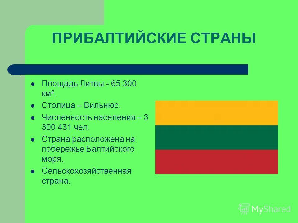 Площадь Литвы - 65 300 км². Столица – Вильнюс. Численность населения – 3 300 431 чел. Страна расположена на побережье Балтийского моря. Сельскохозяйственная страна.