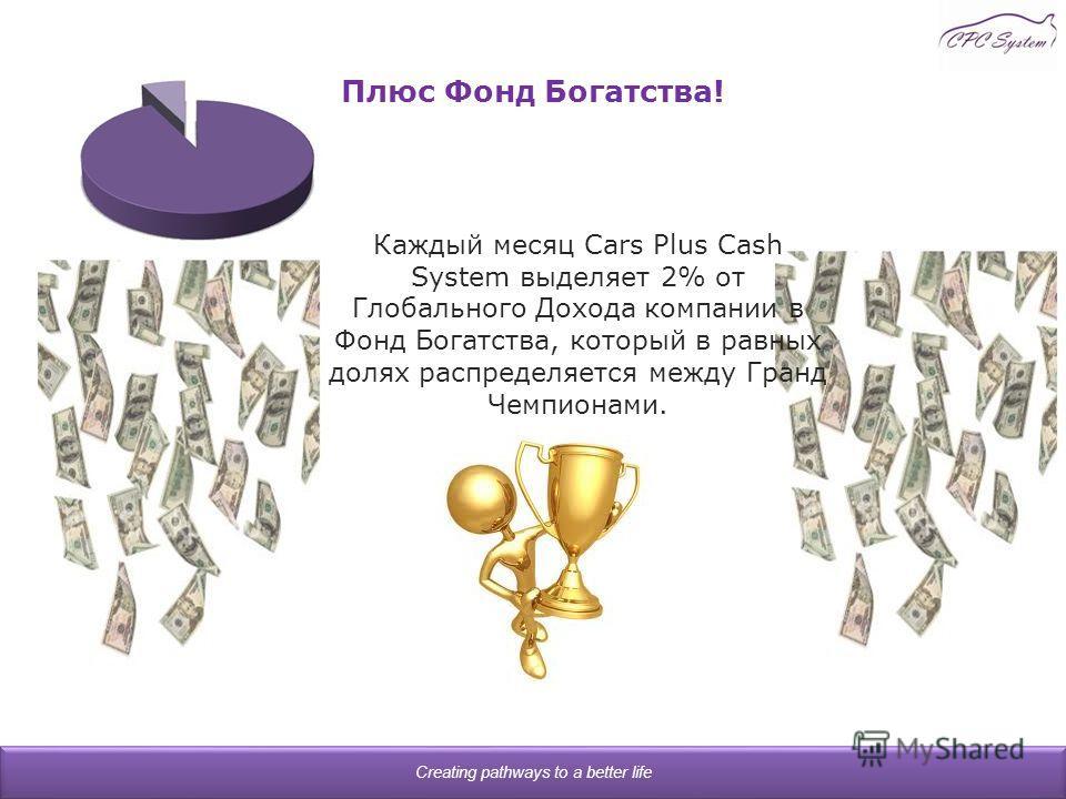 Плюс Фонд Богатства! Creating pathways to a better life Каждый месяц Cars Plus Cash System выделяет 2% от Глобального Дохода компании в Фонд Богатства, который в равных долях распределяется между Гранд Чемпионами.