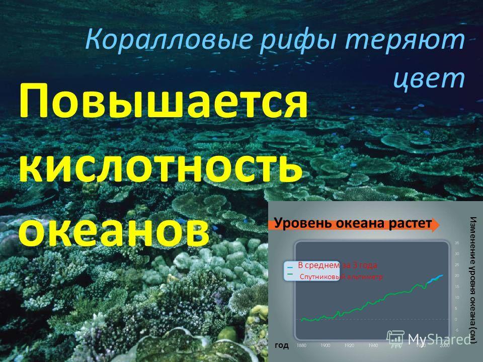 Коралловые рифы теряют цвет Повышается кислотность океанов Уровень океана растет В среднем за 3 года Спутниковый альтиметр год Изменение уровня океана (см)
