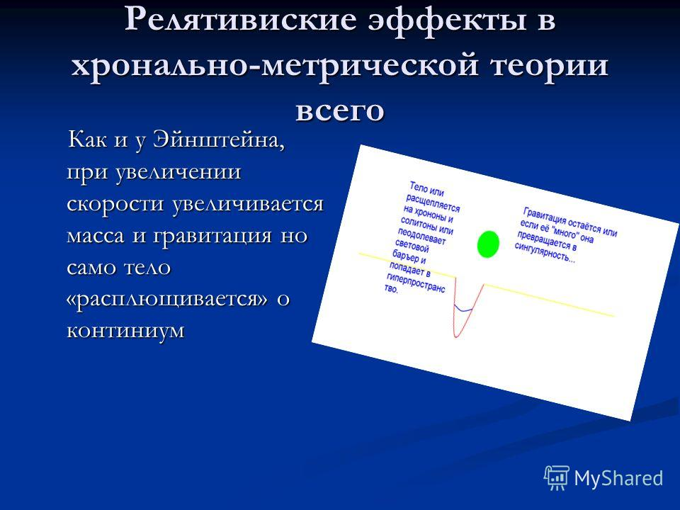 Релятивиские эффекты в хронально-метрической теории всего Как и у Эйнштейна, при увеличении скорости увеличивается масса и гравитация но само тело «расплющивается» о континиум