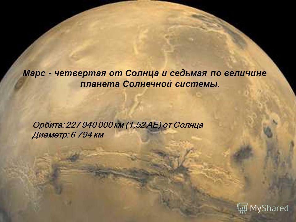 Марс - четвертая от Солнца и седьмая по величине планета Солнечной системы. Орбита: 227 940 000 км (1,52 АЕ) от Солнца Диаметр: 6 794 км