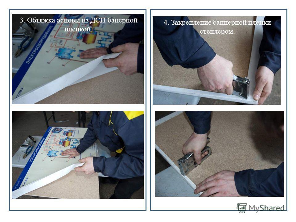 . 1. Дизайн в программе «Фотошоп» и распечатка на балерной пленке. 3. Обтяжка основы из ДСП банерной пленкой. 4. Закрепление баннерной пленки степлером.