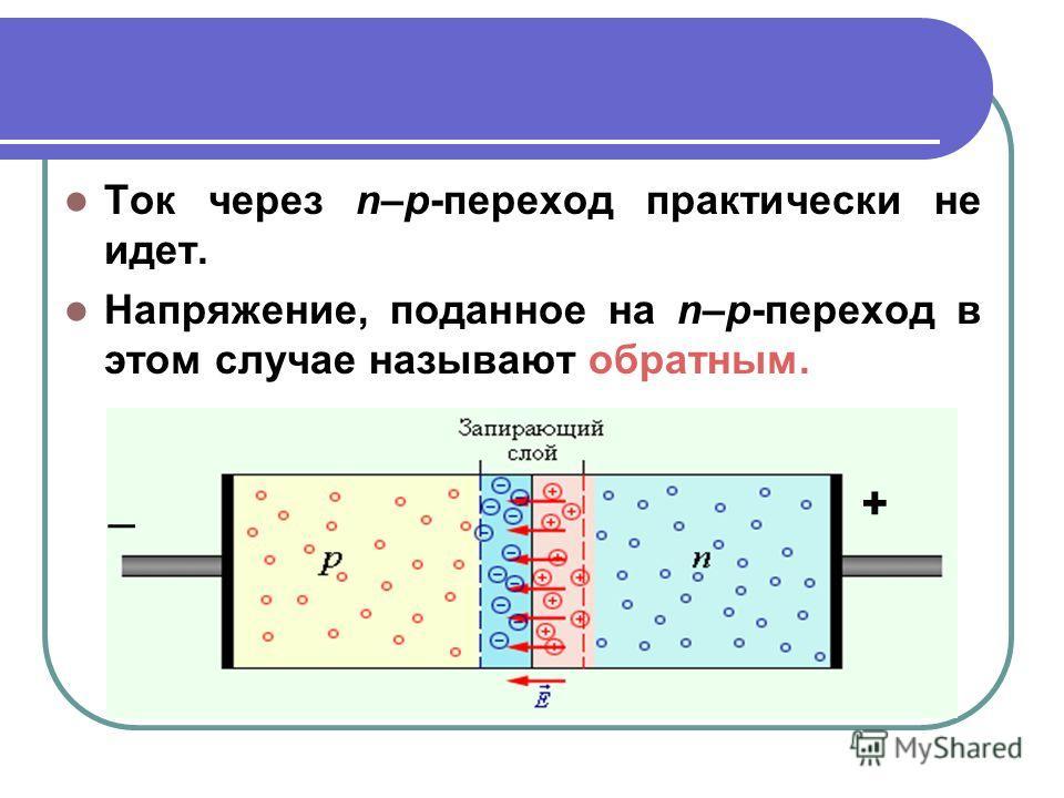 Ток через n–p-переход практически не идет. Напряжение, поданное на n–p-переход в этом случае называют обратным. _+
