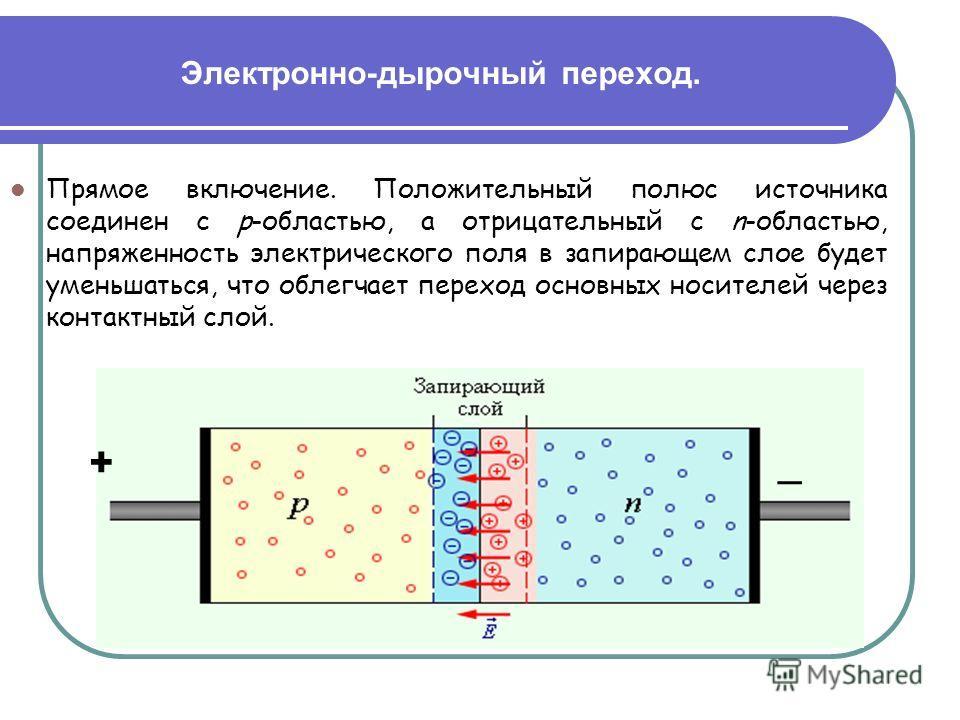 Электронно-дырочный переход. Прямое включение. Положительный полюс источника соединен с p-областью, а отрицательный с n-областью, напряженность электрического поля в запирающем слое будет уменьшаться, что облегчает переход основных носителей через ко