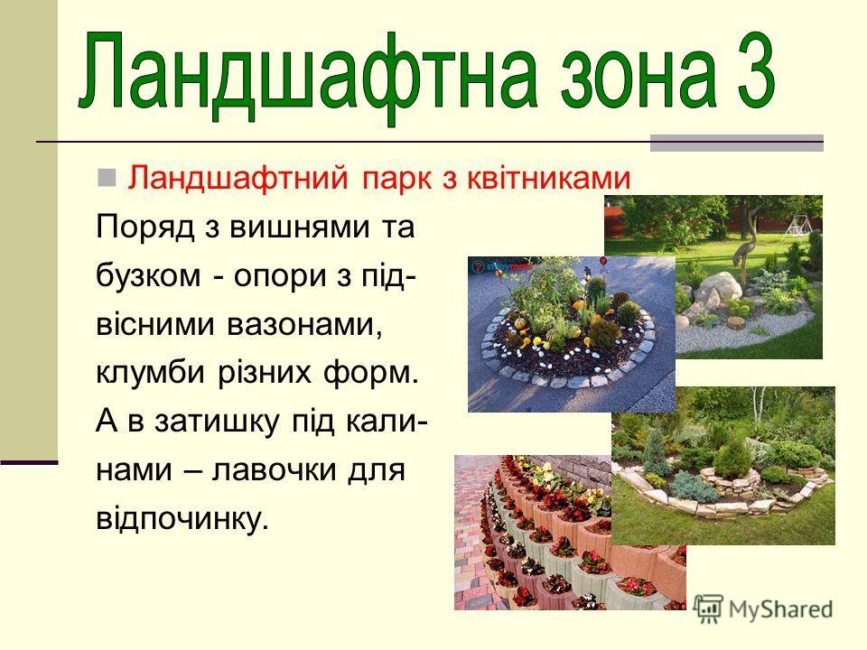 Ландшафтний парк з квітниками Поряд з вишнями та бузком - опори з під- вісними вазонами, клумби різних форм. А в затишку під кали- нами – лавочки для відпочинку.