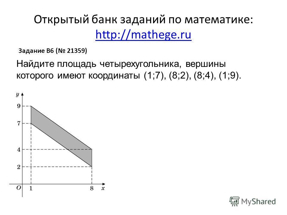 Открытый банк заданий по математике: http://mathege.ru http://mathege.ru Задание B6 ( 21359) Найдите площадь четырехугольника, вершины которого имеют координаты (1;7), (8;2), (8;4), (1;9).