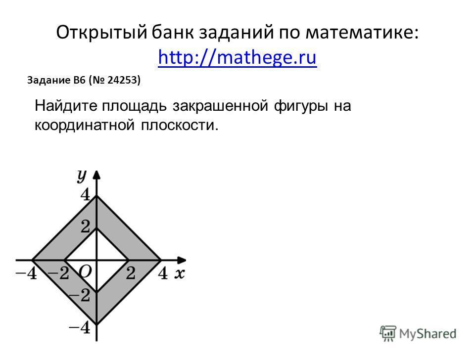 Открытый банк заданий по математике: http://mathege.ru http://mathege.ru Задание B6 ( 24253) Найдите площадь закрашенной фигуры на координатной плоскости.