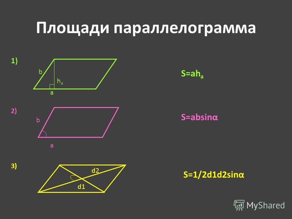 Площади параллелограмма S=ah a haha a b 1) 2) S=absinα 3) S=1/2d1d2sinα d2 d1 a b
