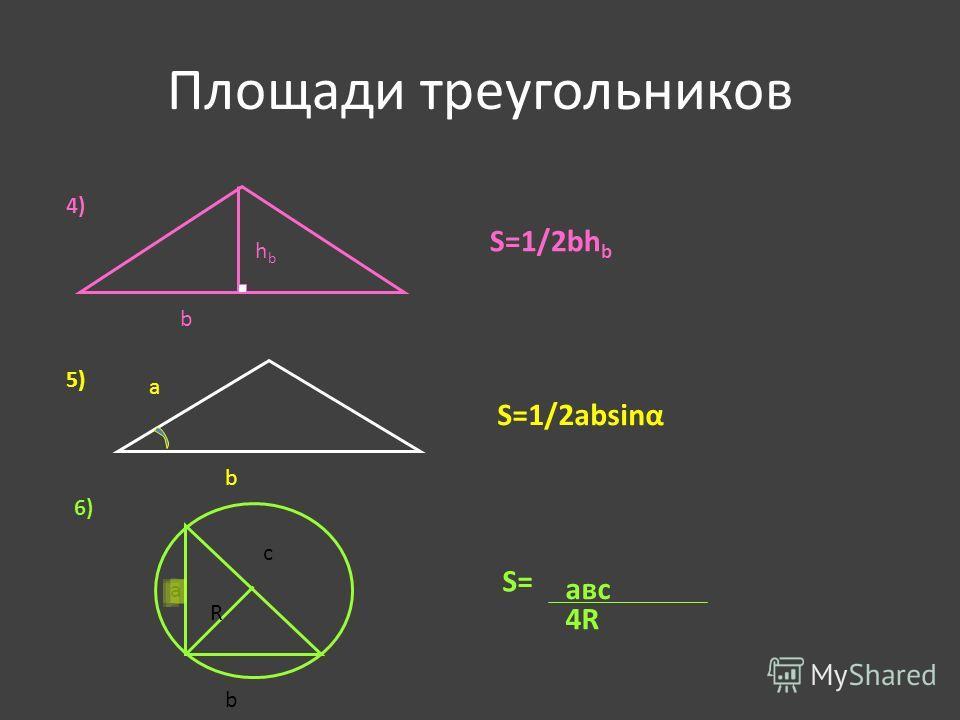 Площади треугольников b a c R hbhb b S=1/2bh b 4) 5) S=1/2absinα 6) a b авс 4R S=