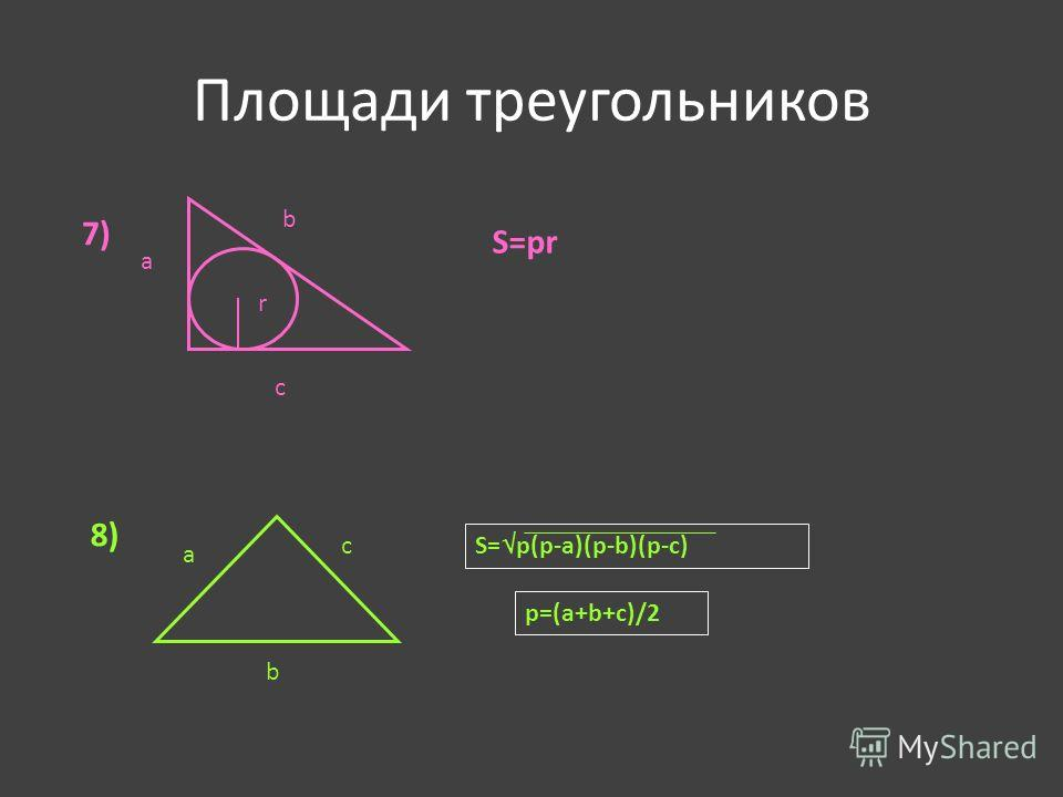 Площади треугольников 7) S=рr 8) a b c S= p(p-a)(p-b)(p-c) p=(a+b+c)/2 r a b c