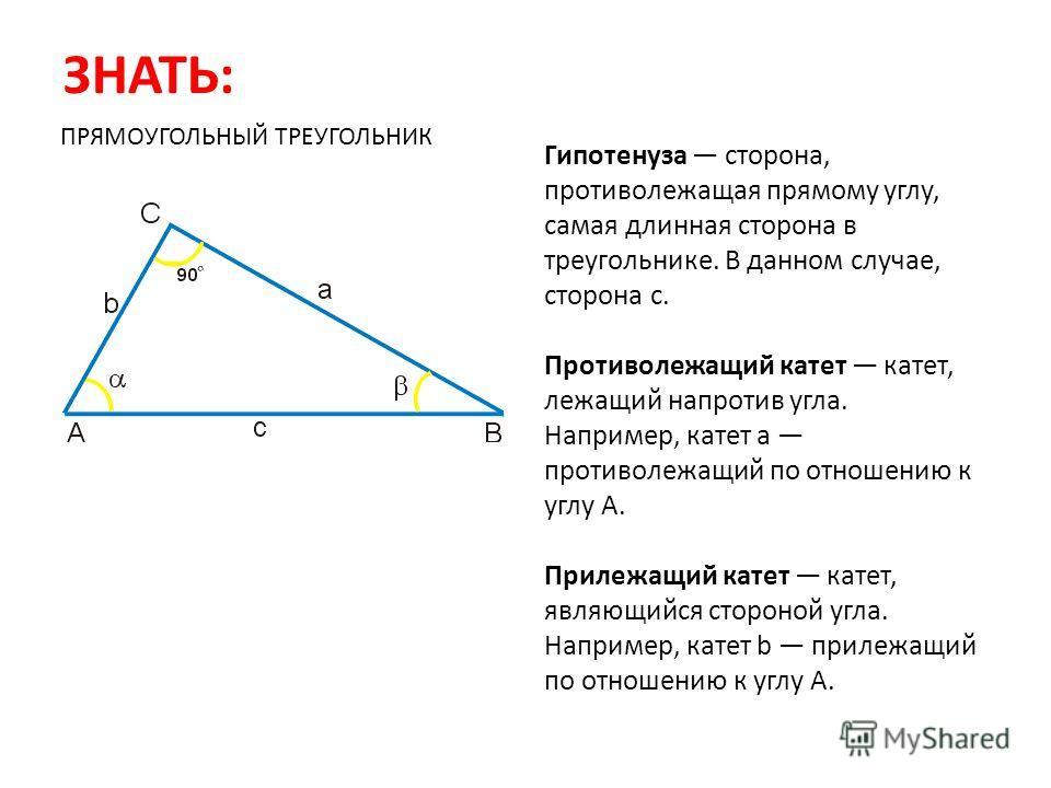 ЗНАТЬ: Гипотенуза сторона, противолежащая прямому углу, самая длинная сторона в треугольнике. В данном случае, сторона c. Противолежащий катет катет, лежащий напротив угла. Например, катет a противолежащий по отношению к углу A. Прилежащий катет кате