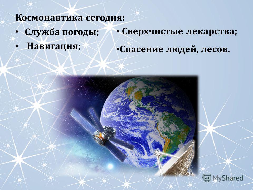 Космонавтика сегодня: Служба погоды; Навигация; Сверхчистые лекарства; Спасение людей, лесов.