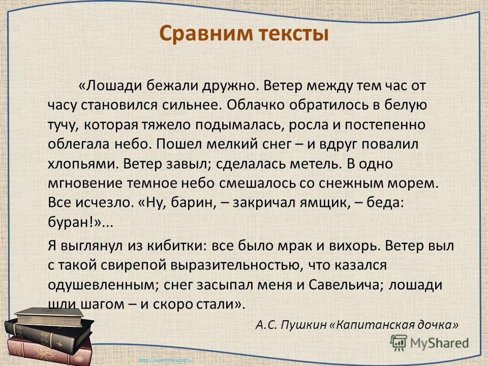 http://ku4mina.ucoz.ru/ Сравним тексты «Лошади бежали дружно. Ветер между тем час от часу становился сильнее. Облачко обратилось в белую тучу, которая тяжело подымалась, росла и постепенно облегала небо. Пошел мелкий снег – и вдруг повалил хлопьями.