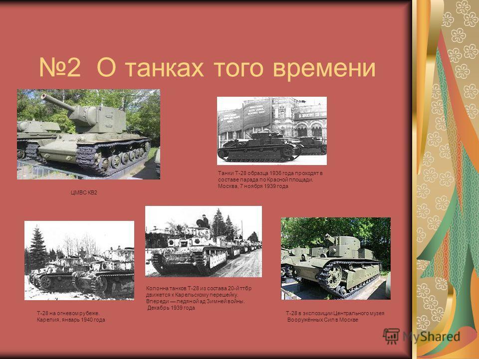 2 О танках того времени Т-28 в экспозиции Центрального музея Вооружённых Сил в Москве Т-28 на огневом рубеже. Карелия, январь 1940 года Колонна танков Т-28 из состава 20-й ттбр движется к Карельскому перешейку. Впереди ледяной ад Зимней войны. Декабр
