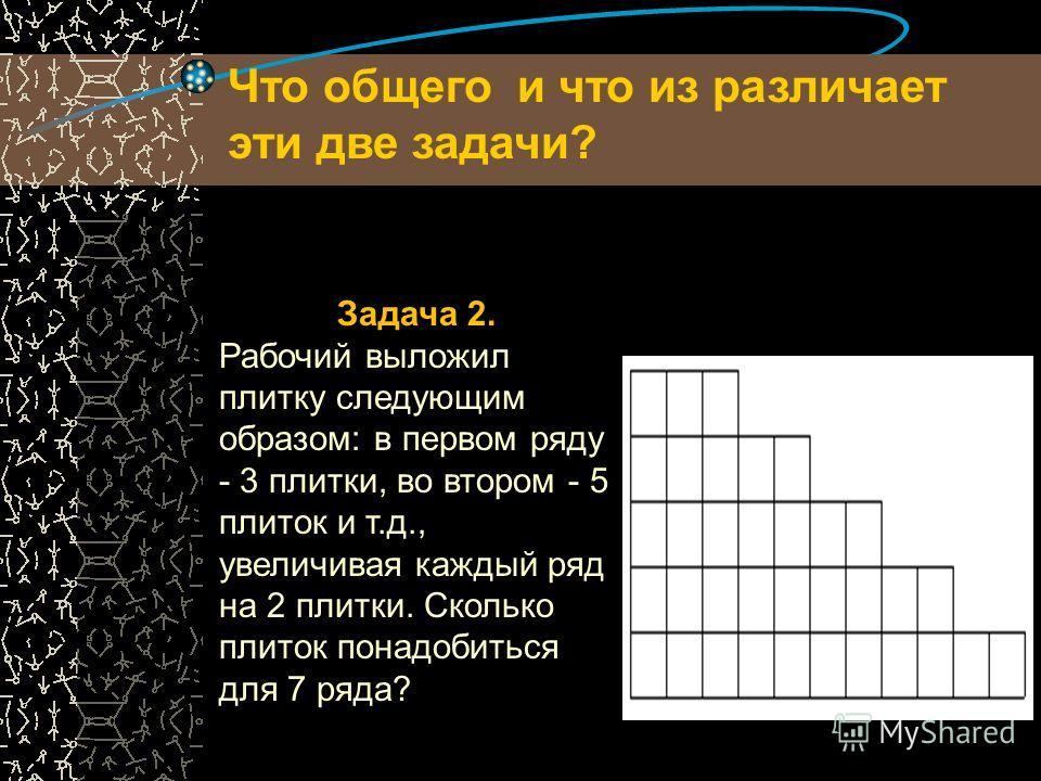 Задача 1. При хранении бревен строевого леса их укладывают так, как показано на рисунке. Сколько бревен находится в одной кладке, если в ее основании положено 12 бревен? Что общего и что из различает эти две задачи?