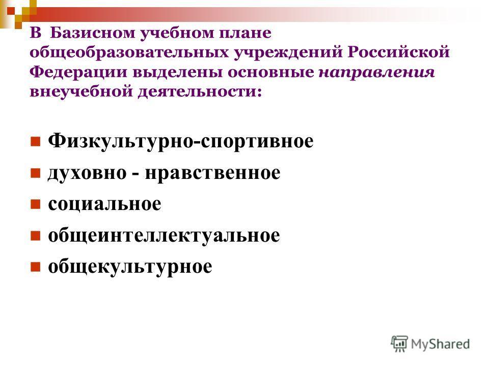 В Базисном учебном плане общеобразовательных учреждений Российской Федерации выделены основные направления внеучебной деятельности: Физкультурно-спортивное духовно - нравственное социальное общеинтеллектуальное общекультурное