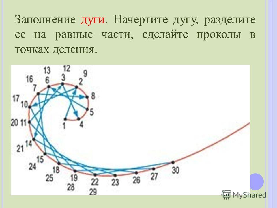 Заполнение дуги. Начертите дугу, разделите ее на равные части, сделайте проколы в точках деления.