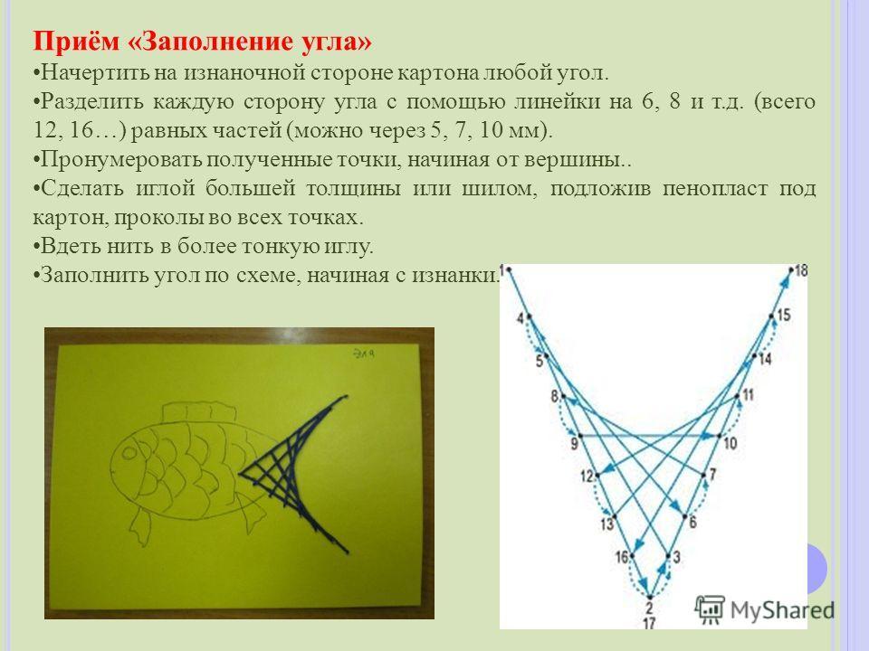 Приём «Заполнение угла» Начертить на изнаночной стороне картона любой угол. Разделить каждую сторону угла с помощью линейки на 6, 8 и т.д. (всего 12, 16…) равных частей (можно через 5, 7, 10 мм). Пронумеровать полученные точки, начиная от вершины.. С
