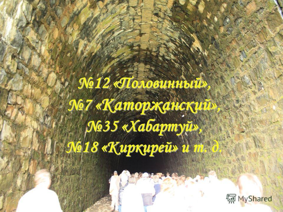 12 «Половинный», 7 «Каторжанский», 35 «Хабартуй», 18 «Киркирей» и т. д.