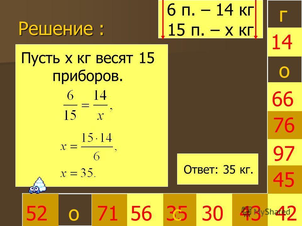 Решение : 3530 66 45 4252715643 97 76 14 г о о Пусть х кг весят 15 приборов. 6 п. – 14 кг 15 п. – х кг Ответ: 35 кг. с