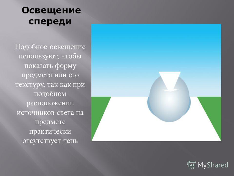 Освещение спереди Подобное освещение используют, чтобы показать форму предмета или его текстуру, так как при подобном расположении источников света на предмете практически отсутствует тень