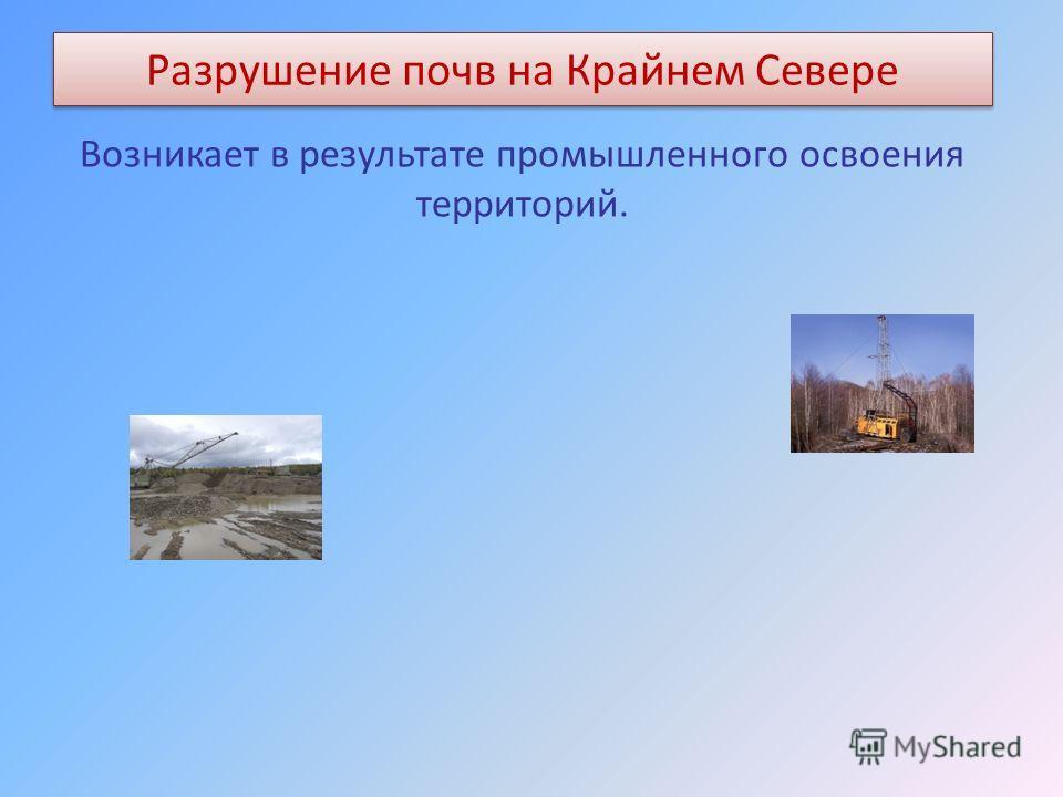 Разрушение почв на Крайнем Севере Возникает в результате промышленного освоения территорий.