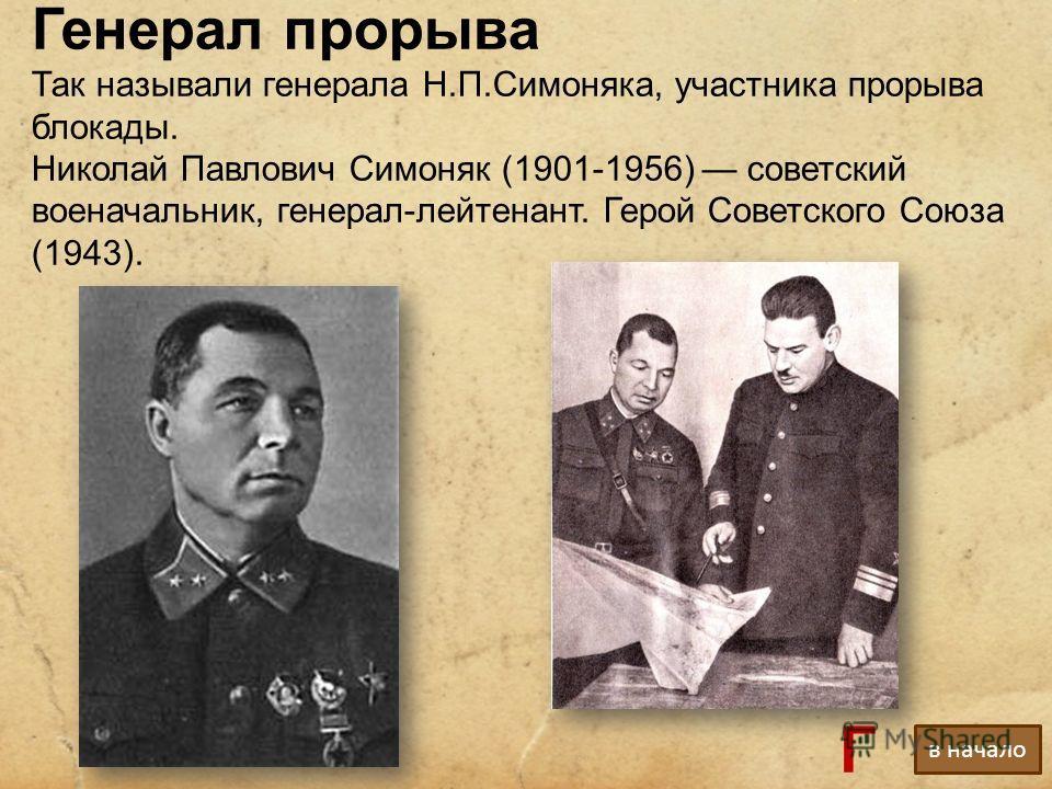 Генерал прорыва Так называли генерала Н.П.Симоняка, участника прорыва блокады. Николай Павлович Симоняк (1901-1956) советский военачальник, генерал-лейтенант. Герой Советского Союза (1943). в начало Г