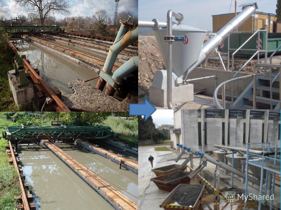 Технологічні рішення: 2Пісколовки: 2. Пісколовки: -реконструкція і заміна механічного обладнання – скребки і гідроелеватори. Для утилізації піску використати сепаратор піску, а для вилучення затриманого піску з ємності пісколовки, замість гідроелеват