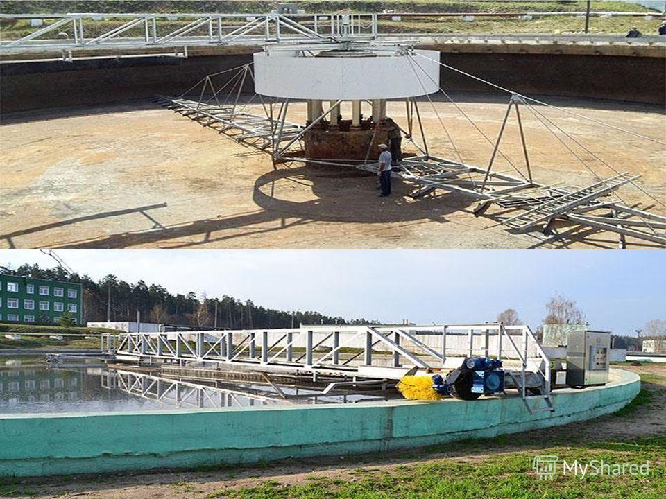 Технологічні рішення: 3. Первинні відстійники (2-га черга): - заміна мулошкребів з жировловлювачами і пристроями видалення плаваючих речовин, а також ремонт будівельних конструкцій відстійників, водовідвідних лотків, напівзаглибних перегородок і уста