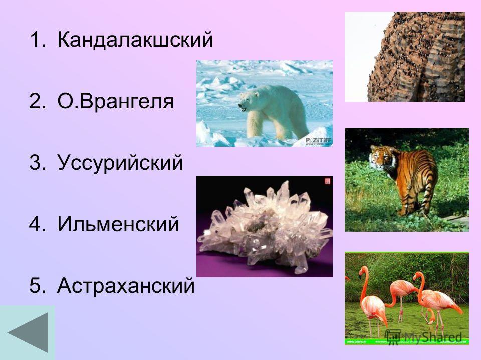 1.Кандалакшский 2.О.Врангеля 3.Уссурийский 4.Ильменский 5.Астраханский