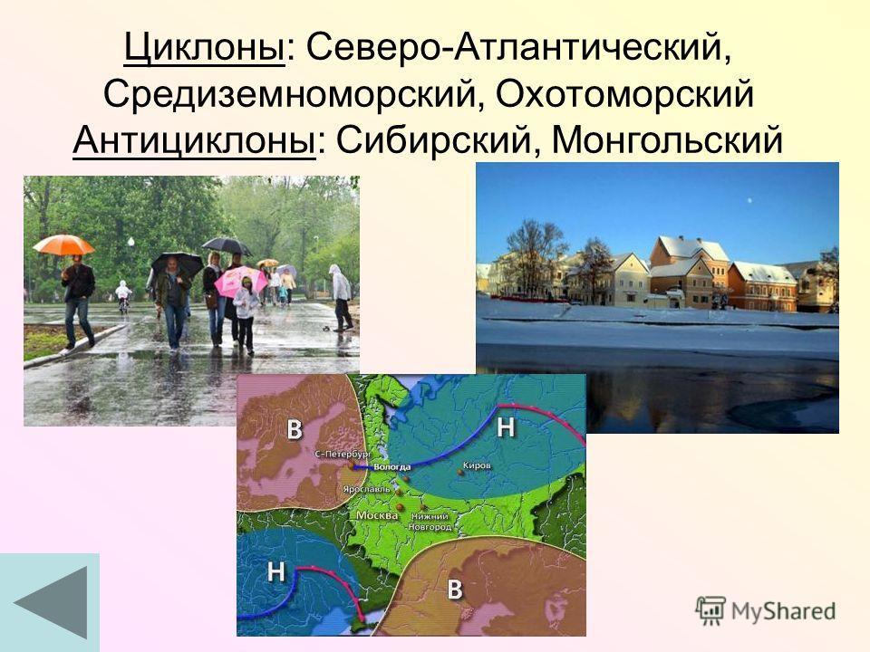 Циклоны: Северо-Атлантический, Средиземноморский, Охотоморский Антициклоны: Сибирский, Монгольский