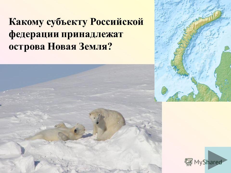 Какому субъекту Российской федерации принадлежат острова Новая Земля?