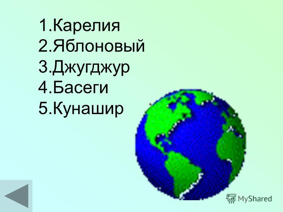 В каждом из пяти приведённых географических названий или слов переставьте буквы так, чтобы получились географические названия. 1.Елакяри 2.Лыбявойно 3.Жгужрудд 4.Гаибес 5.Шарукин