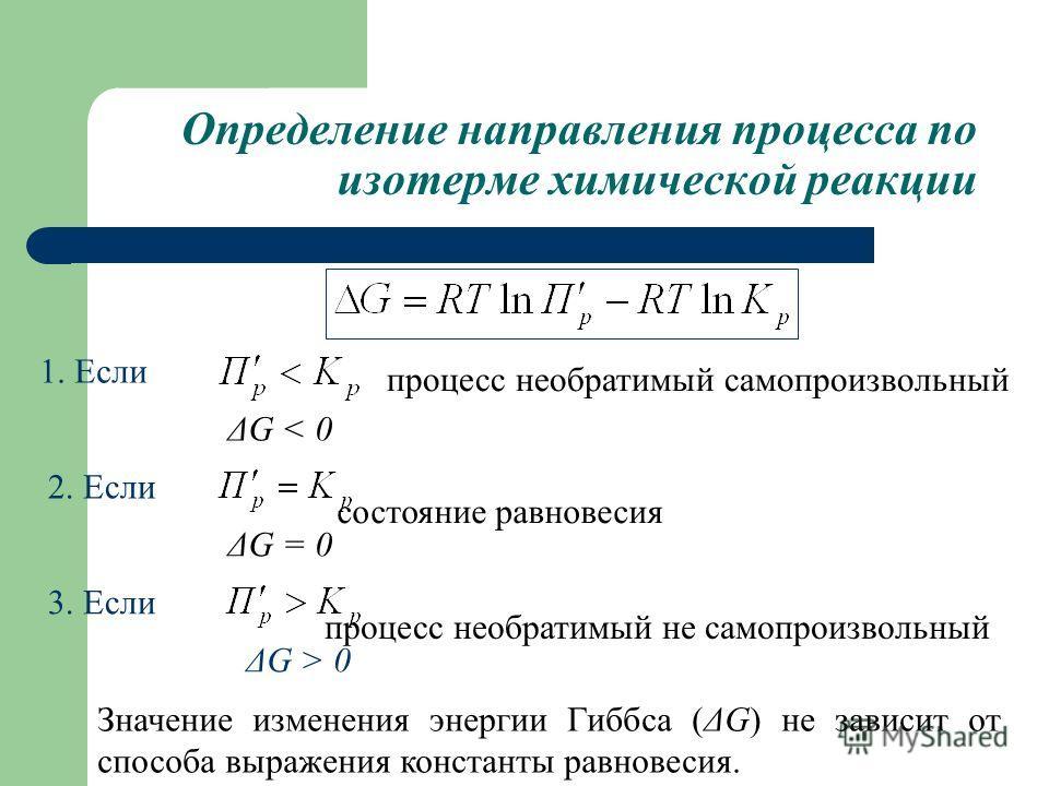 Определение направления процесса по изотерме химической реакции 1. Если ΔG < 0 ΔG = 0 процесс необратимый не самопроизвольный процесс необратимый самопроизвольный 2. Если состояние равновесия 3. Если ΔG > 0 Значение изменения энергии Гиббса (ΔG) не з