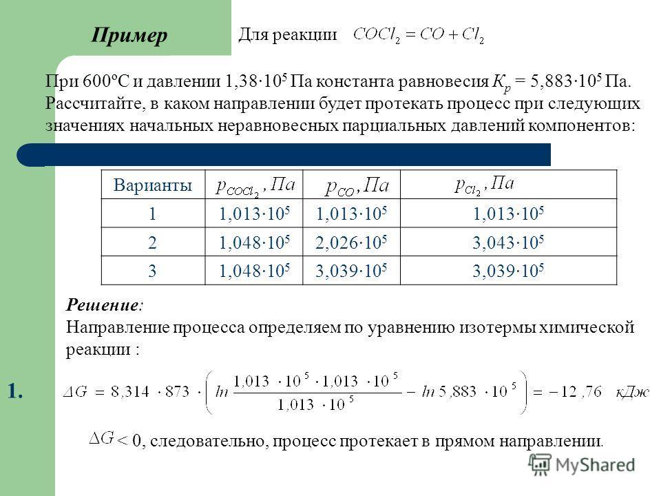 Пример При 600ºС и давлении 1,3810 5 Па константа равновесия К р = 5,883·10 5 Па. Рассчитайте, в каком направлении будет протекать процесс при следующих значениях начальных неравновесных парциальных давлений компонентов: Варианты 11,013·10 5 21,048·1