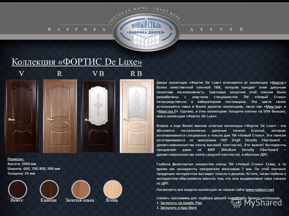 Коллекция «ФОРТИС De Luxe» Размеры: Высота: 2000 мм Ширина: 600, 700, 800, 900 мм Толщина: 34 мм Двери коллекции «Фортис De Luxe» отличаются от коллекции «Фортис» более качественной пленкой ПВХ, которая придает этим дверным полотнам эксклюзивность. Ц