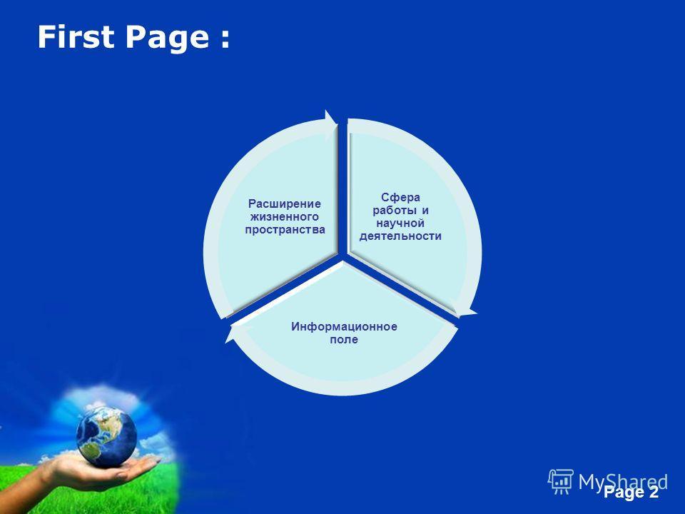 Free Powerpoint Templates Page 2 First Page : Сфера работы и научной деятельности Информационное поле Расширение жизненного пространства