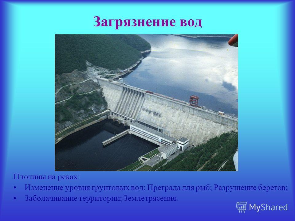 Загрязнение вод Плотины на реках: Изменение уровня грунтовых вод; Преграда для рыб; Разрушение берегов; Заболачивание территории; Землетрясения.